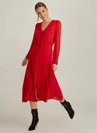 NGSTYLE Önden Düğmeli Midi Elbise Kırmızı
